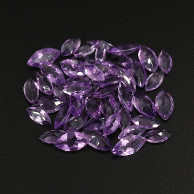 Loose 26.97 CTW Marquise Faceted Amethysts