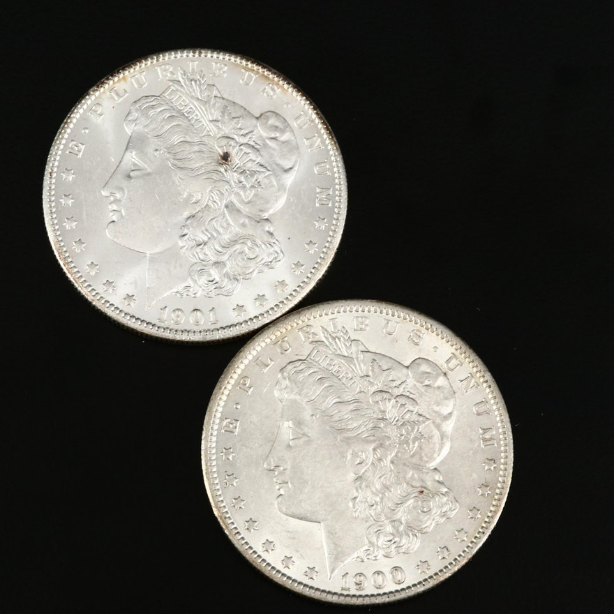 1900-O and Better Date 1901-O Morgan Silver Dollars