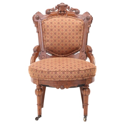 Victorian Renaissance Revival Walnut and Burl Walnut Parlor Side Chair