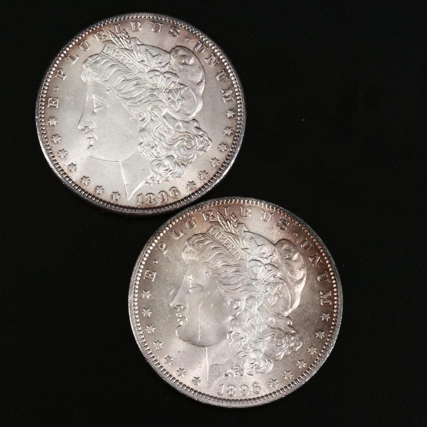 Pair of 1896 Toned Uncirculated Morgan Silver Dollars