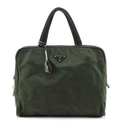 Prada Green Nylon Tessuto and Dark Brown Leather Handbag