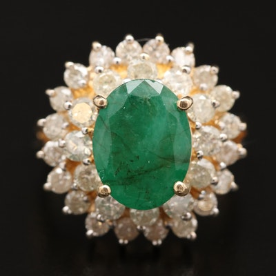 14K Three Tiered Emerald Ring with 1.74 CTW Double Diamond Halo