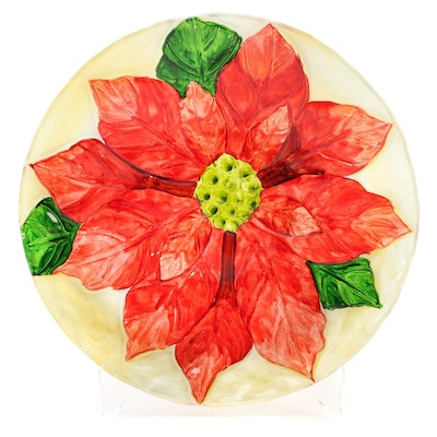 Molded Hand Painted  Glass Poinsettia Charger, Mid to Late 20th Century