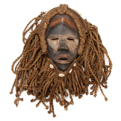"""Dan """"Deangle"""" Style Hand-Carved Mask with Fiber, West Africa"""