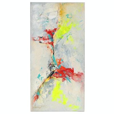 Farshad Lanjani Acrylic Painting of Abstract Composition