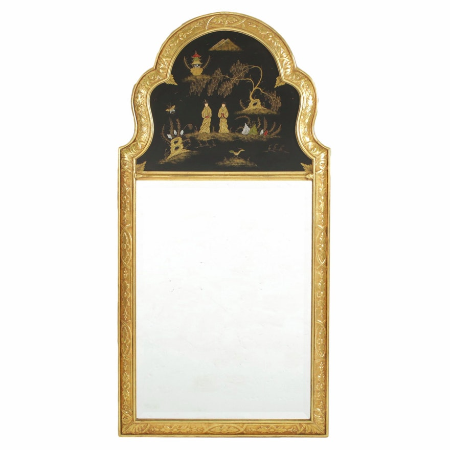 Chinese Hand-Painted Gilt Frame Wall Mirror, 20th Century