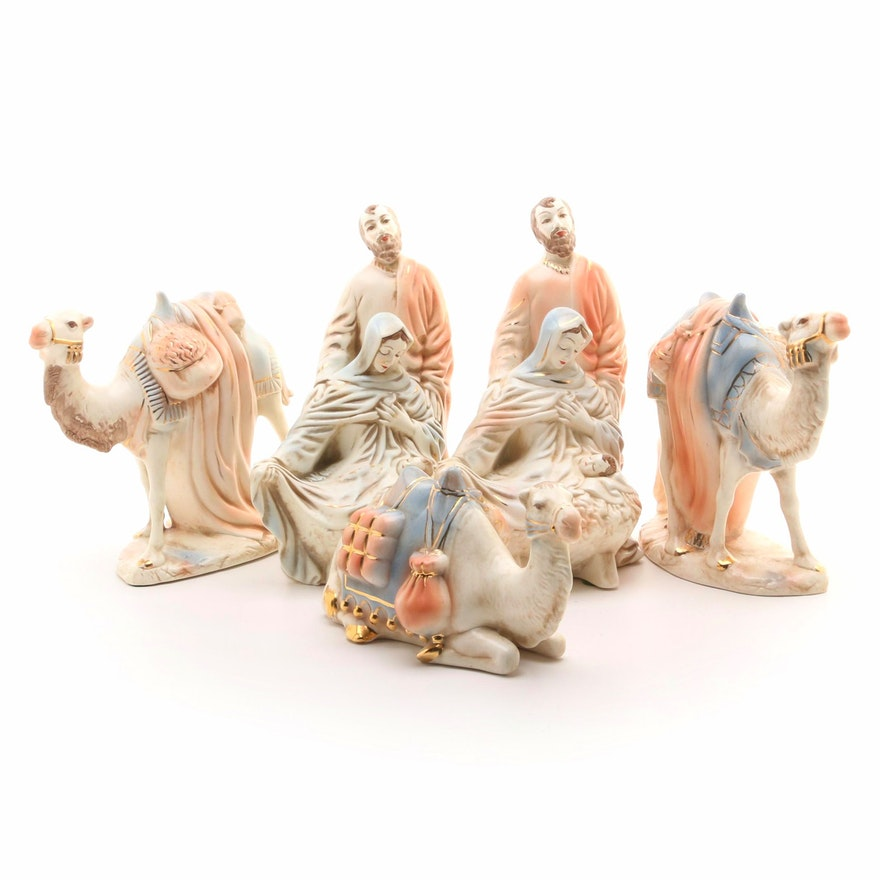 Hobbyist Ceramic Nativity Scene Holy Family and Camel Figurines