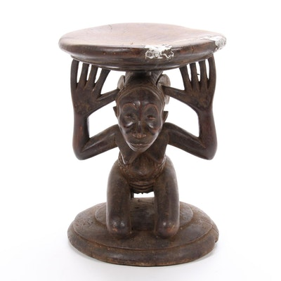 Luba Hand Carved Figural Stool, Democratic Republic of the Congo