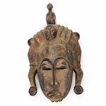 Baule Inspired Carved Wood Tripple-Faced Mask, Côte d'Ivoire
