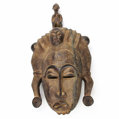 Baule Inspired Carved Wood Tripple-Faced Mask, Côte d'Ivoire
