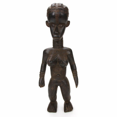 Bassa Style Carved Wood Female Figure, Liberia