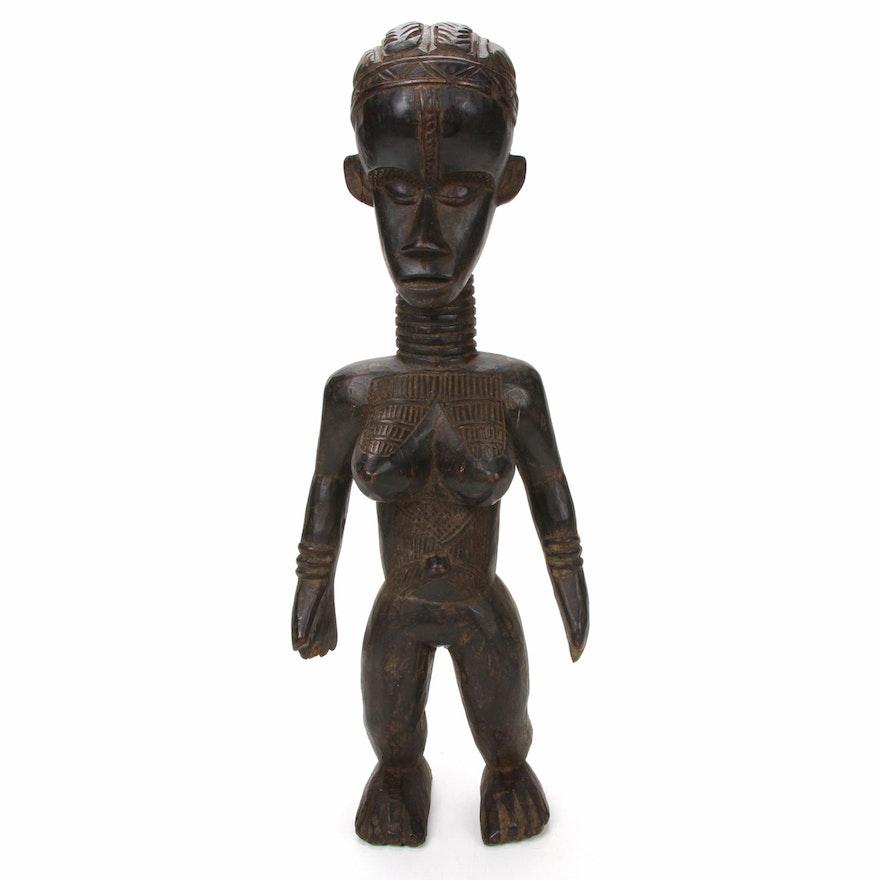 Bassa Style Carved Wood Female Figure, Liberia