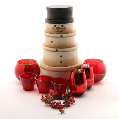 Glass Candle Votives with Stackable Snowman Boxes