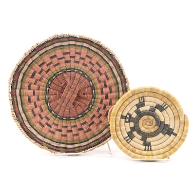 Tohono O'odham Spiral Coiled Grass Flat Basket and Plaque