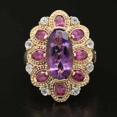 Sterling Amethyst, Garnet and Topaz Statement Ring