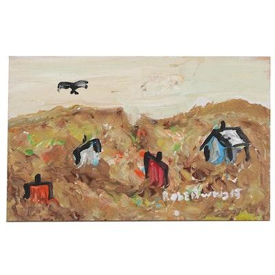 Robert Wright Acrylic Landscape Folk Painting