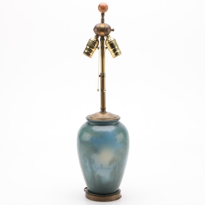 Edward George Diers for Rookwood Pottery Scenic Vellum Art Converted Lamp, 1918