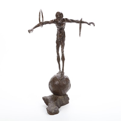 "Gilbert ""Gib"" Singleton Bronze Sculpture of Acrobat"