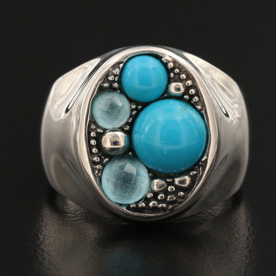 Michael Dawkins Sterling Silver Turquoise and Topaz Ring