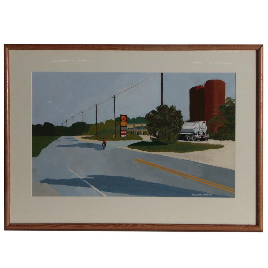 Virginia Hanson Precisionist Landscape Gouache Painting