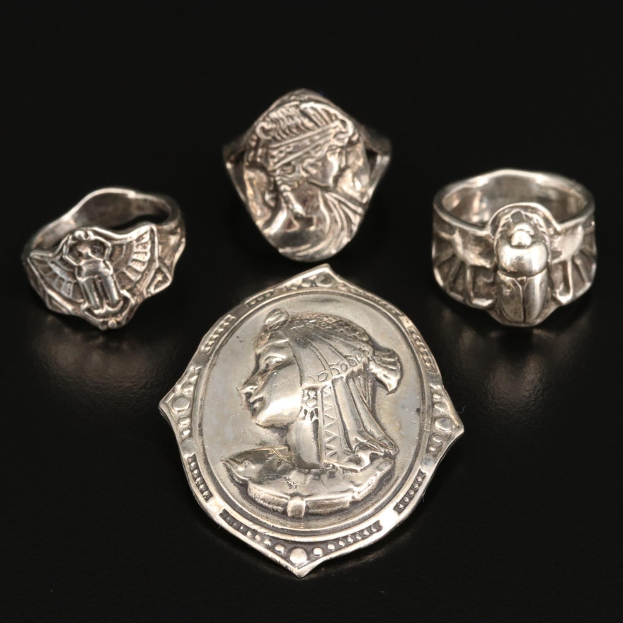 Sterling Silver Egyptian Revival Brooch and Rings