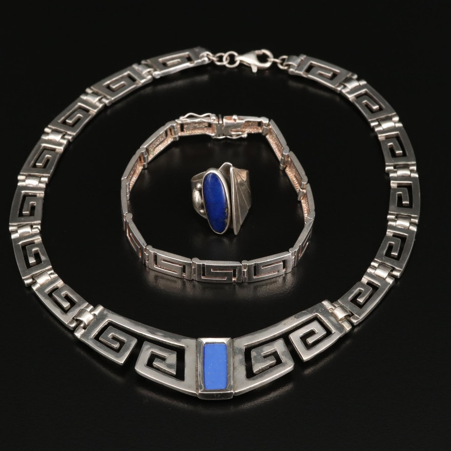 Sterling Greek Key Necklace and Bracelet with Lapis Lazuli Ring and Accent