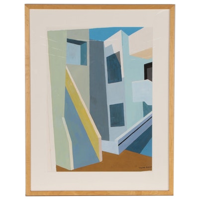 Virginia Hanson Precisionist Architectural Gouache Painting