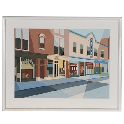 Virginia Hanson Precisionist Gouache Street Scene, Mid to Late 20th Century