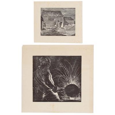 Joseph Di Gemma American Regionalist Style Relief Prints, Mid 20th Century