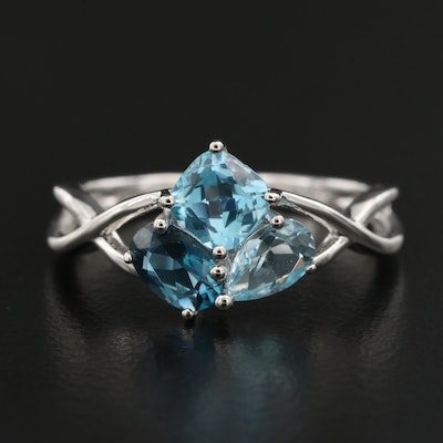 Sterling Silver London, Sky, Swiss Topaz Twist Ring