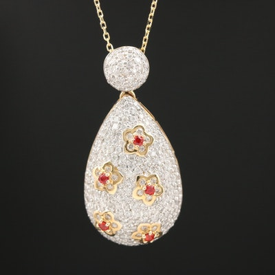 14K 1.49 CTW Diamond and Sapphire Floral Patterned Necklace