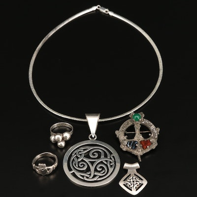 Sterling Silver Jewelry Including Celtic Knot Pendant Necklace and Claddagh Ring