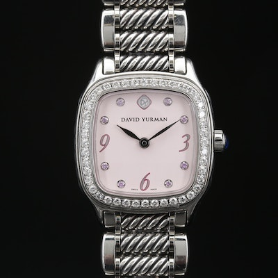 David Yurman Thoroughbred Stainless Steel, Diamond and Pink Sapphires Watch