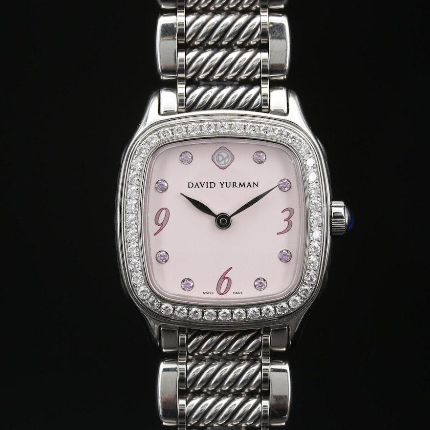 David Yurman Thoroughbred Stainless Steel, Diamond and Pink Sapphires Watch