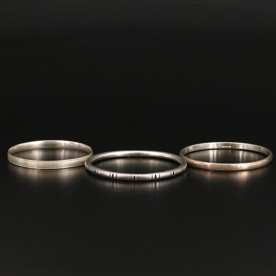 Sterling Silver Textured Bangle Bracelets