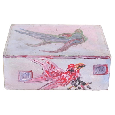 Robert Wright Acrylic Painted Box with Bird Motif, Late 20th to 21st Century