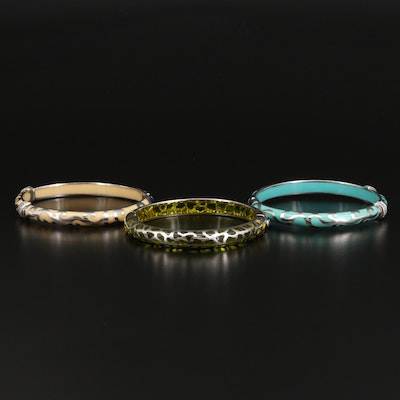 Sterling Silver Bangles with Enamel and Topaz