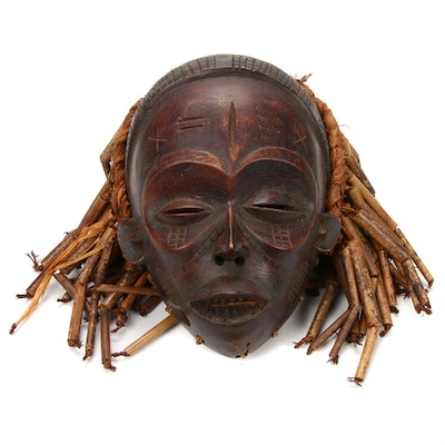 Chokwe Hand-Carved Wood Mask, Central Africa