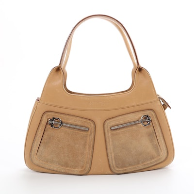 Salvatore Ferragamo Tan Leather and Suede Shoulder Bag with Gancini Zippers