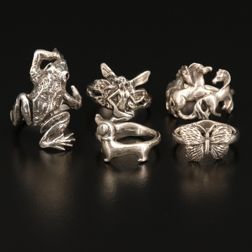 Sterling Silver Animal Themed Rings with Fairy Ring