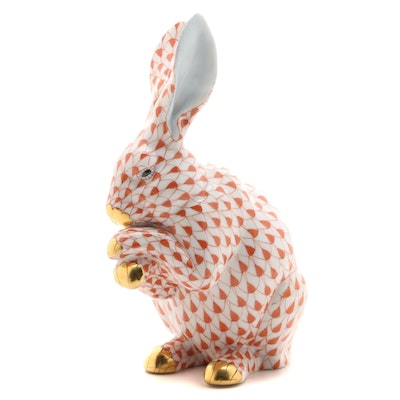 "Herend Rust Fishnet with Gold ""Bunny with Paws Up"" Porcelain Figurine, 1999"