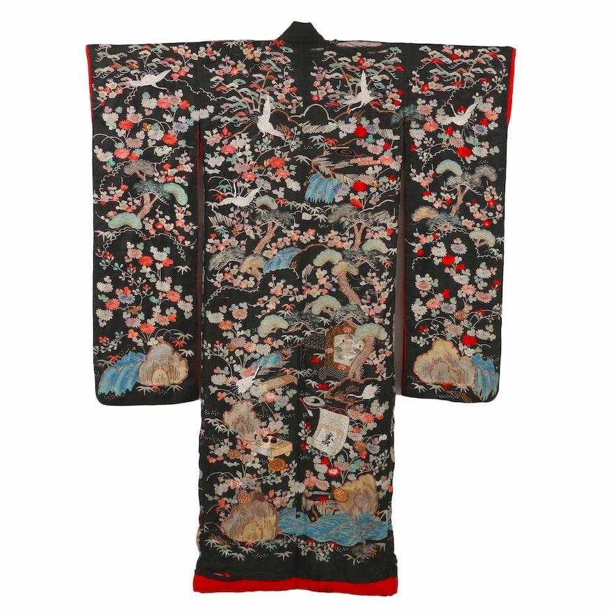 Japanese Meiji Period Ceremonial Uchikake Hand Embroidered Silk