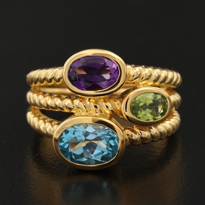 Sterling Silver Topaz, Amethyst and Peridot Rope Motif Ring