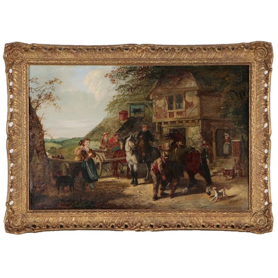 Henry Charles Woollett Genre Scene Oil Painting, Late 19th Century