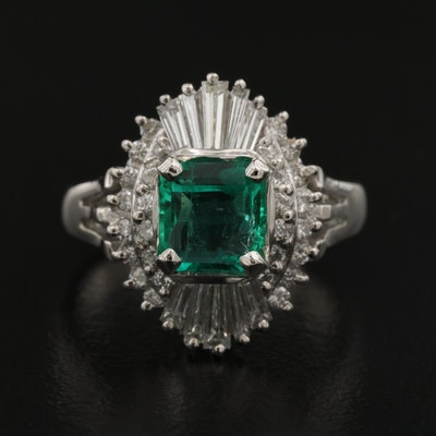 Platinum Emerald and Diamond Ballerina Ring