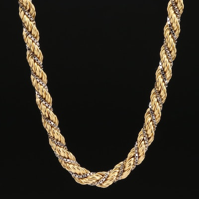 14K Two-Tone Twisted Rope and Box Chain Necklace