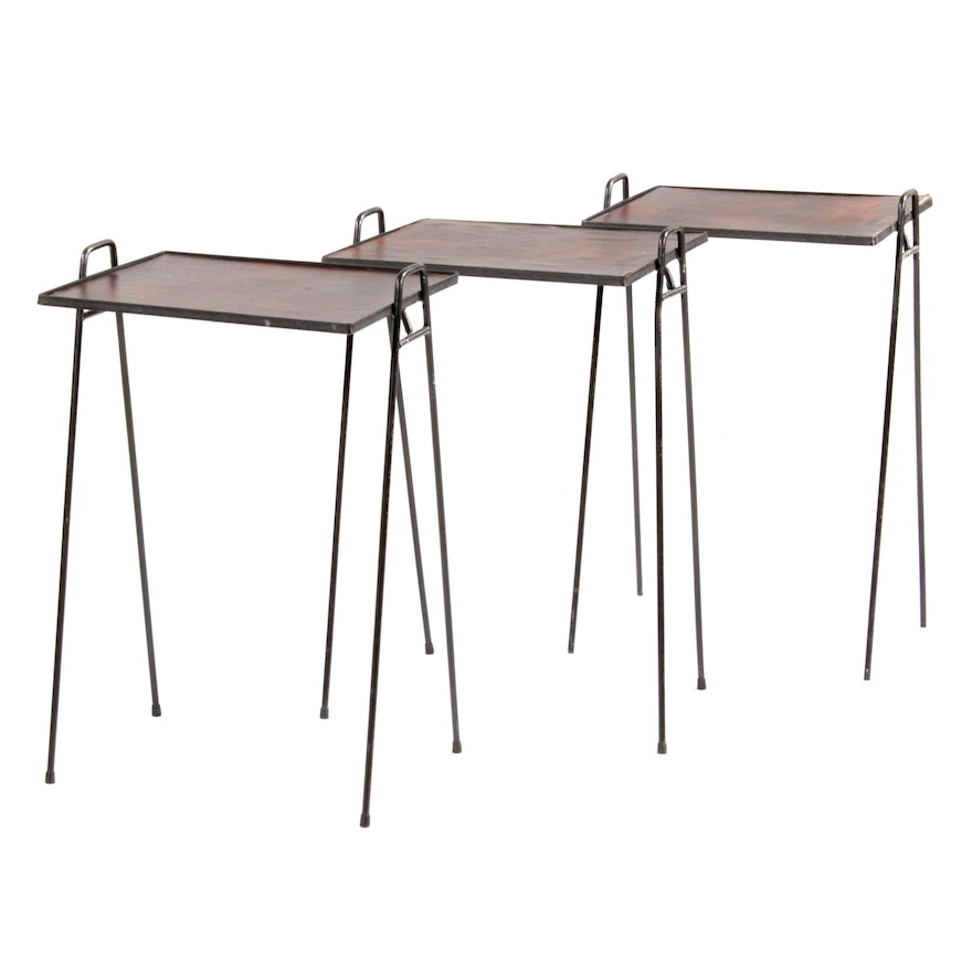 Mid Century Modern Style Stackable Leatherette Tray Tables with Hairpin Legs