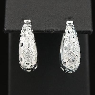 Fine Silver Diamond Butterfly Tapered Hoop Earrings