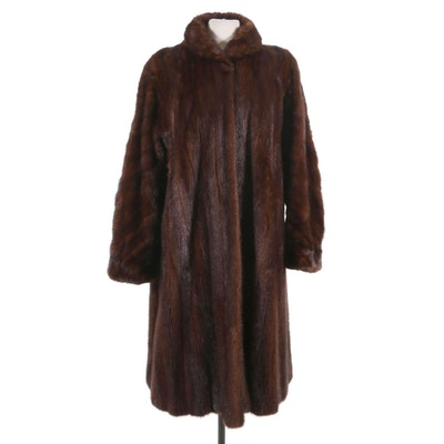 Mahogany Mink Fur Coat from Jacques Ferber, Mid-20th Century