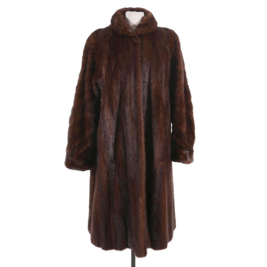 Mahogany Mink Fur Coat from Jacques Ferber, Mid-20th Century